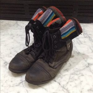 Steve Madden LaceUp Black Leather Moto Boots 7 1/2